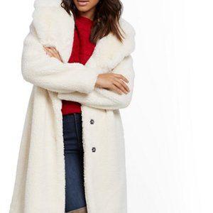 New York & Company White Faux-Fur Collar Coat